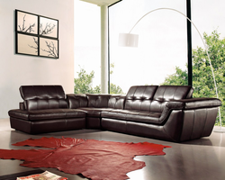 J & M Furniture 397 Italian Leather Sectional Chocolate Color in Left Hand Facing