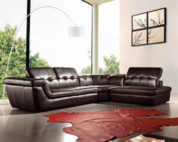 J & M Furniture 397 Italian Leather Sectional Chocolate Color in Right Hand Facing