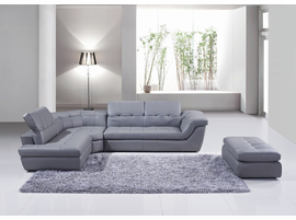 J & M Furniture 397 Italian Leather Sectional Grey Color in Left Hand Facing Chaise