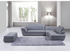 J & M Furniture 397 Italian Leather Sectional Grey Color in Right Hand Facing Chaise