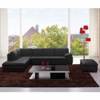 J & M Furniture 625 Italian Leather Sectional Black in Left Hand Facing