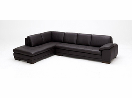 J & M Furniture 625 Italian Leather Sectional Brown in Left Hand Facing
