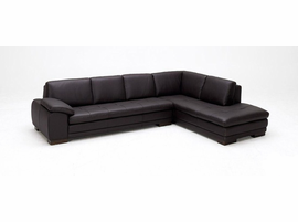 J & M Furniture 625 Italian Leather Sectional Brown in Right Hand Facing