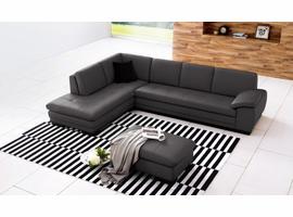 J & M Furniture 625 Italian Leather Sectional Grey in Left Hand Facing
