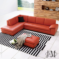J & M Furniture 625 Italian Leather Sectional Pumpkin in Left Hand Facing