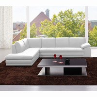 J & M Furniture 625 Italian Leather Sectional White in Left Hand Facing