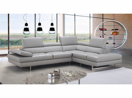 J & M Furniture A761 Italian Leather Sectional Light Grey In Right Hand Facing
