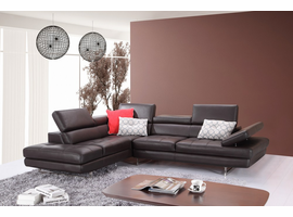 J & M Furniture A761 Italian Leather Sectional Slate Coffee In Left Hand Facing