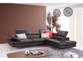 J & M Furniture A761 Italian Leather Sectional Slate Coffee In Right Hand Facing