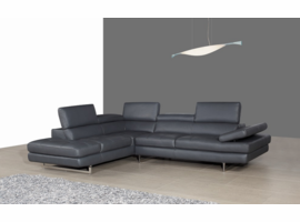 J & M Furniture A761 Italian Leather Sectional Slate Grey In Left Hand Facing