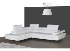 J & M Furniture A761 Italian Leather Sectional White In Left hand Facing