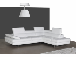 J & M Furniture A761 Italian Leather Sectional White In Right Hand Facing