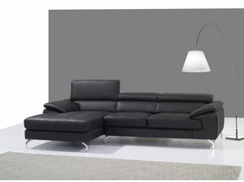 J & M Furniture A973B Italian Leather Mini Sectional Left Facing Chaise in Black