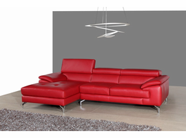 J & M Furniture A973B Italian Leather Mini Sectional Left Facing Chaise in Red