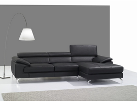 J & M Furniture A973B Italian Leather Mini Sectional Right Facing Chaise in Black