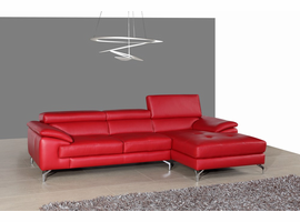 J & M Furniture A973B Italian Leather Mini Sectional Right Facing Chaise in Red