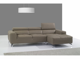 J & M Furniture A978B Italian Leather Sectional Right Facing Chaise in Burlywood