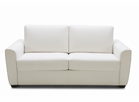 J & M Furniture Alpine Sofa Bed in White Fabric With Memory Foam Mattress