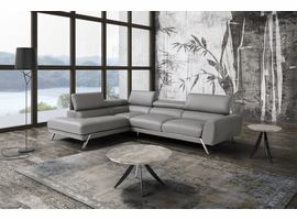 J & M Furniture Mood Grey Leather Sectional Left Hand Facing