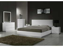 J & M Furniture Naples White Lacquered  Queen Size Platform Bed