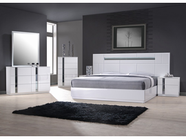 J & M Furniture Palermo Queen Size Platform  Bed In White or Grey Lacquer