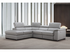 J & M Furniture Perla Premium Leather Sectional in Left Hand Facing Chaise