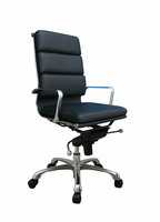 J & M Furniture Plush Black High Back Office Chair