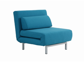J & M Furniture Premium Chair Bed LK06-1 in Teal Fabric