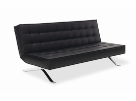 J & M Furniture Premium Sofa Bed JK044-3 in Black Leatherette