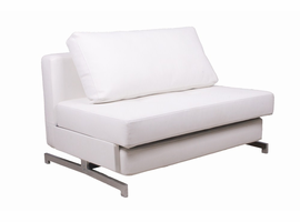J & M Furniture Premium Sofa Bed K43-1 in White Leatherette