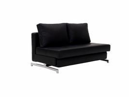 J & M Furniture Premium Sofa Bed K43-2 in Black Leatherette