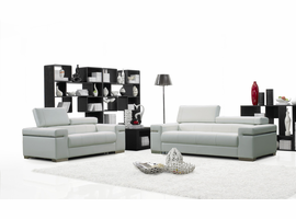 J & M Furniture Soho Leather Sofa Set