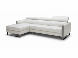 J & M Furniture Vella Premium Leather Sectional In Light Grey Left hand Facing