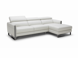 J & M Furniture Vella Premium Leather Sectional In Light Grey Right hand Facing