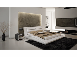 J & M Furniture Wave Queen Size  Platform Bed in White Leather