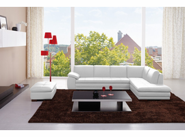 J&M Modern Leather & Fabric Sectional Sofa