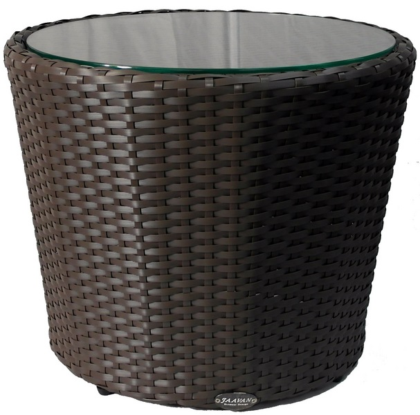 Jaavan Outdoor Round Side Table With Glass