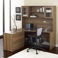 Jesper 100 Collection Corner L Shaped Desk with Hutch and Lateral File in Walnut