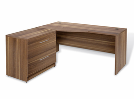 Jesper 100 Collection Corner L Shaped Desk with Lateral File in Walnut