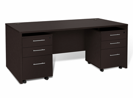 Jesper 100 Collection Executive Desk with Qty. 2 -3 Drawer Mobile Pedestal in Espresso