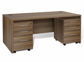 Jesper 100 Collection Executive Desk with Qty. 2 -3 Drawer Mobile Pedestal in Walnut