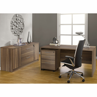 Jesper 100 Collection Executive Office Desk with Credenza in Walnut
