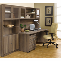 Jesper 100 Collection Executive Office Desk with Hutch & Bookcase in Walnut
