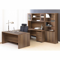 Jesper 100 Collection Executive U Shaped Desk with Hutch and Bookcase in Walnut