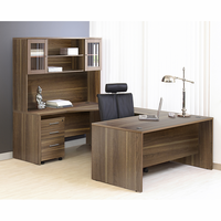 Jesper 100 Collection Executive U Shaped Desk with Hutch in Walnut