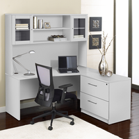 Jesper 100 Collection White Corner L Shaped Desk with Hutch and Lateral File