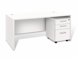 Jesper 100 Collection White Executive Desk with 3 Drawer Mobile Pedestal