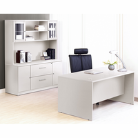 Jesper 100 Collection White Executive Office Desk with Credenza