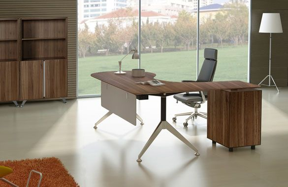 office 382 teardrop desk with left built-in pedestal and return
