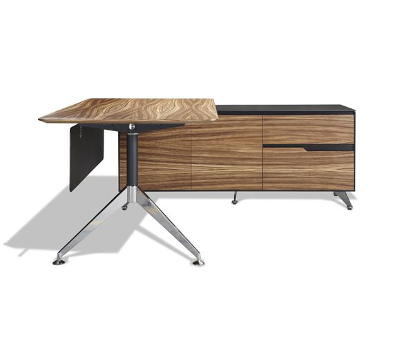 Jesper office 481 zebrano veneer executive desk with right return cabinet - Jesper office desk ...